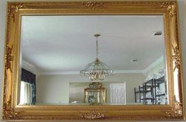 Large Gold Leaf Framed Bevel Mirror