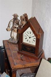 Vintage Clock and Figurines