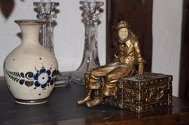 Candlesticks, Vase and Small Statue