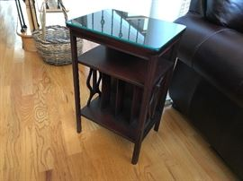 Antique Mahogany Phonograph Stand w/ Protective Glass Top