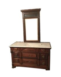 Antique Carved wood bureau with marble top and mirror