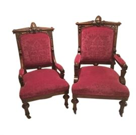 Lady and Gentlemen Victorian Parlor Chairs
