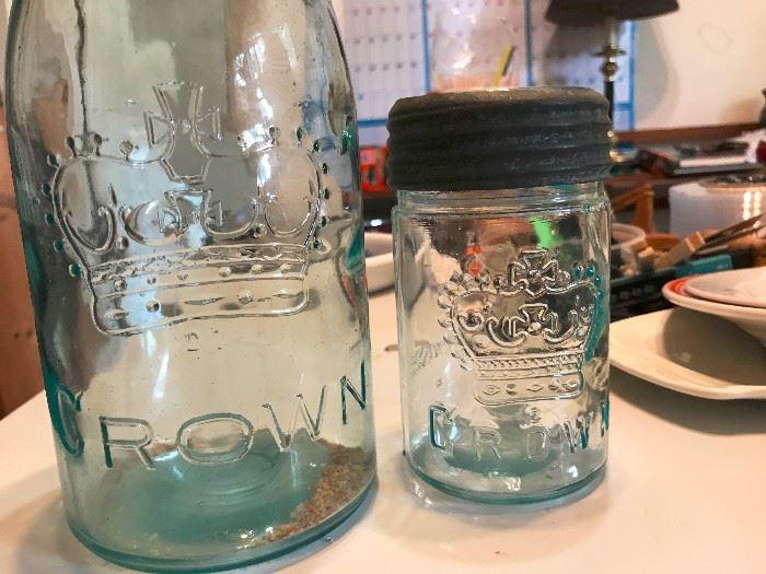 Vintage canning jars made by Crown.  Aqua color.