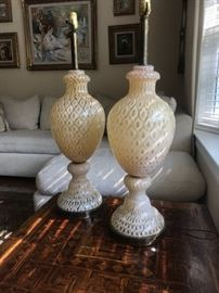 Pair Italian hand blown lamps