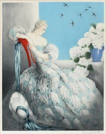 """2033 - LOUIS ICART, FRENCH ETCHING, 1936 H 23 1/2"""", W 19 3/4"""", SYMPHONY IN BLUE"""