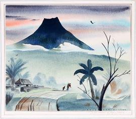 "2211 - DALE NICHOLS (AMERICAN, 1904-1995), WATERCOLOR, 1960, H 11 3/8"", W 13 3/8"", ""IN THE SHADOWS OF AUGA ANTIGUA"""