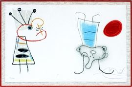 """2029 - JOAN MIRO SPANISH COLORED LITHOGRAPH TWO FIGURES 93/120 H 13"""" W 20"""""""
