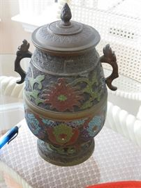 Champleve urn with lid.