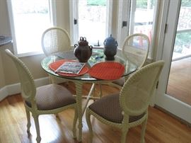 Solid wood rope design glass top kitchen table