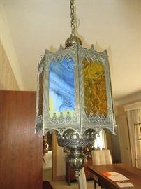 Slag glass and bronze hanging fixture