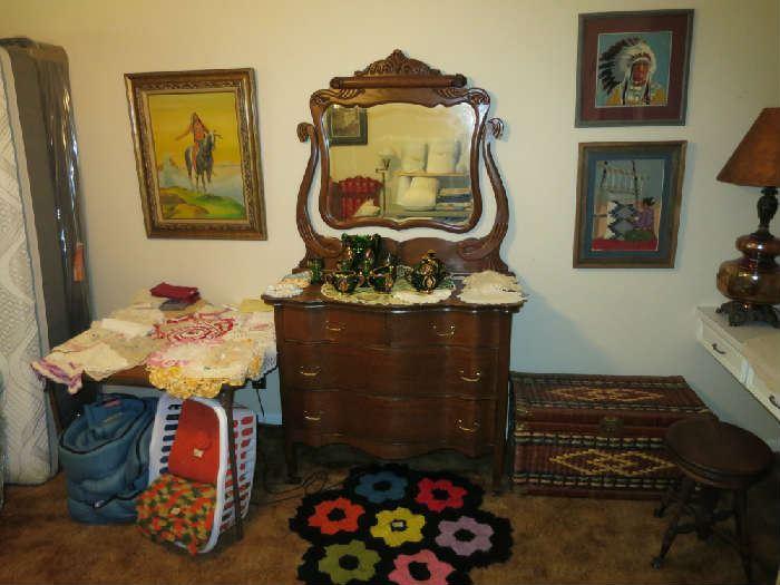 Beautiful Antique Oak Dresser, Great Shape, Native American Artwork, Doilles, And More