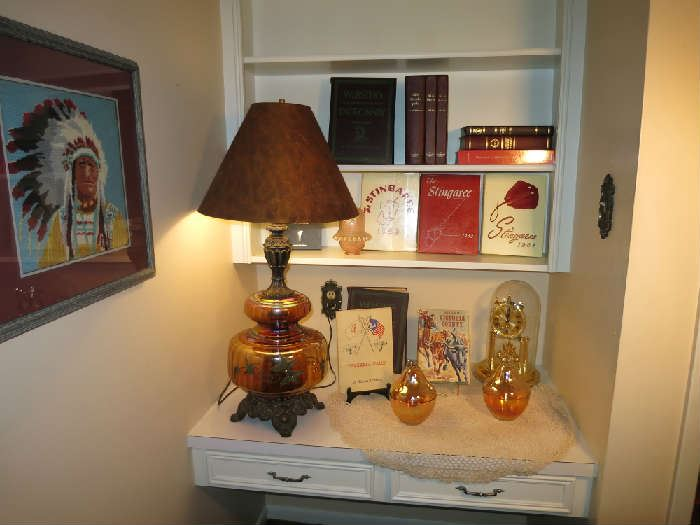 Another View of The Carnival Glass Lamp And Books