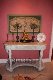 Console Table with Lots of Quality, Decorative Items - Tapestry, Candlesticks, Statuary and loads more