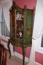 Green, Vintage, Stenciled Curio Cabinet