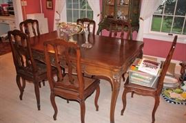 Country French Dining Room Table with 6 Chairs