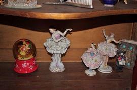 Porcelain Ballerinas, Bible and Snow Globe