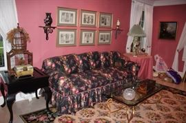 Living Room Furnishings with Decorative Bird Cage, Prints, Pair of Sconces, Rug and Lamp