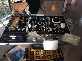 Costume Jewelry with Evening Bags and Jewelry Box