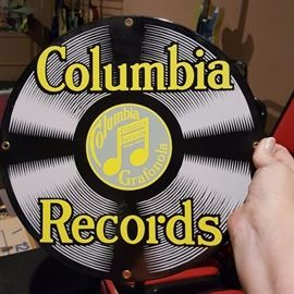 Ande Rooney Columbia Records Porcelain Sign
