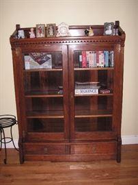 Eastlake bookcase w/glass doors & 2 drawers + key