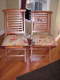 2 folding teak chairs