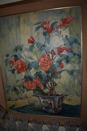 "Painting signed ""Anna Gasteiger"", born 1878-1954, mostly selling internationally, original oil on masonite, Titled "" Camellias in Bloom"