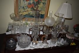 Assortment of vintage cut glass, depression glass and much more