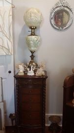 FENTON GWTW STYLE FACES LAMP on UPRIGHT JEWELRY CHEST