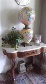 VICTORIAN WASHSTAND and GWTW LAMP