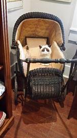 Large antique wicker baby stroller