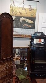 Jung Koch Quentell Vintage Wall Chart,  Victorian ebony curio cabinet