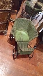 Victorian wicker small doll stroller