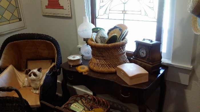 OLD VANITY & BENCH , WICKER CARRIAGE, BRUSHES, MIRRORS