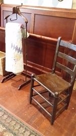QUEEN SLEIGH BED, ANTIQUE VALET, LADDER BACK FARM CHAIR with COWHIDE SEAT