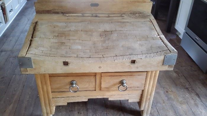 ANTIQUE FRENCH BUTCHER'S CHOPPING TABLE with DRAWERS