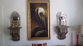 LARGE OIL on CANVAS, PLASTER WALL SCONCES, MARK ROBERTS VENETIAN MIRRORS