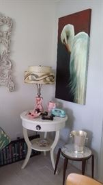VINTAGE LAMP TABLE with 50's LAMP, 2 SMALL FORMICA TOP STACKING TABLES, LARGE EGRET OIL on CANVAS
