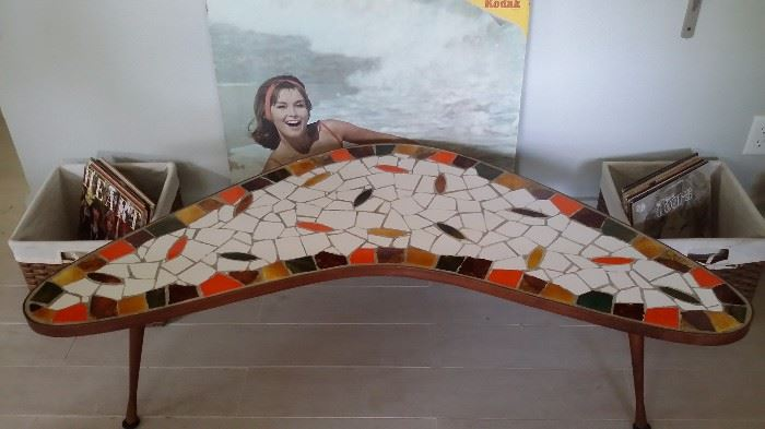 A REAL SHOW STOPPER VINTAGE 50's - 60's MOSAIC TILE BOOMERANG (KIDNEY) COFFEE TABLE....OLD ORIGINAL KODAK FILM ADVERTISING POSTER