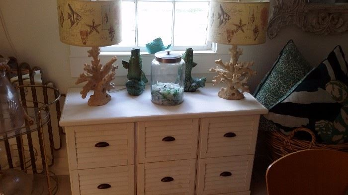 FILE CABINET TABLE, Pr. RESIN CORAL LAMPS