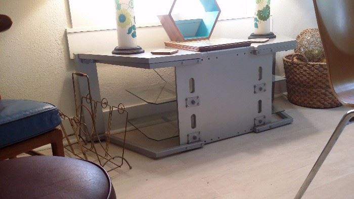 METAL TABLE with GLASS SHELVING