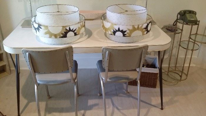 PAIR OF 50's CHAIRS with 60's TABLE