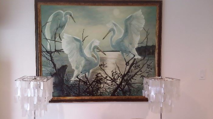 LARGE EGRET OIL on CANVAS, PR. LAMPS with SHELL SHADES