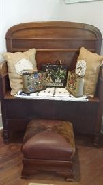ANTIQUE DEACONS BENCH, EMPIRE OTTOMAN with COWHIDE TOP, ENID COLLINS JEWELED HANDBAGS