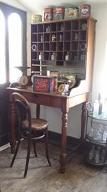 ANTIQUE POSTAL DESK with BENTWOOD CHAIR, OLD TINS & SCALES