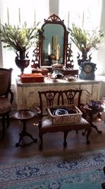 ANTIQUE DRESSER TOP MIRROR with VALET DRAWERS, Pr. BRONZE URNS, REPRODUCTION CHIPPENDALE CHILD'S SETTEE SET