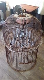 ANTIQUE BIRDCAGE married to CRYSTAL CHANDELIER