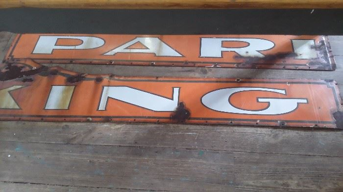 OLD 2-PIECE METAL CARNIVAL PARKING SIGN