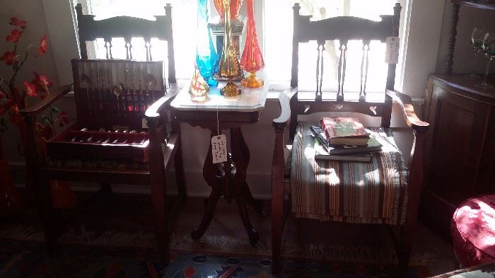 PAIR OF ANTIQUE OAK ARM CHAIRS, VICTORIAN MARBLE TOP LAMP TABLE, VIKING GLASS VASES