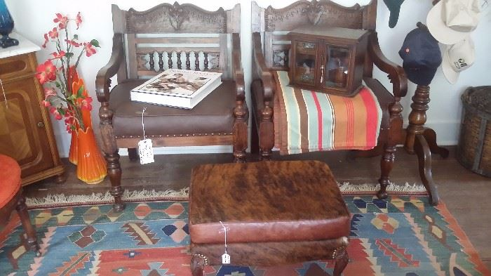 Pair of ANTIQUE PEGGED ARM CHAIRS with newly upholstered seats, VINTAGE COWHIDE OTTOMAN