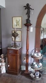 TALL SPINDLE FERN STAND, BRONZE STATUE, ANTIQUE MARBLE TOP CABINET WITH DRAWER, BRADLEY HUBBARD ELECTRIFIED BANQUET LAMP